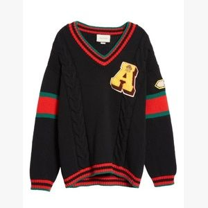NWT Authentic Gucci CableKnit Wool Varsity Sweater